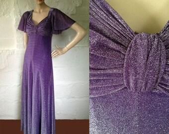 1970s 'John Charles' Lilac and Silver Sparkle Vamp Dress / 30s Style Lurex Dress / Vintage Evening Dress / SIZE UK 8-10