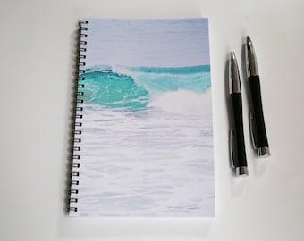 Ocean Notebook, Blank Paper Journal, Wire Bound Journal, Sketch book, Summer Diary, Teal Waves notebook, Handmade Journal, Custom Notebook