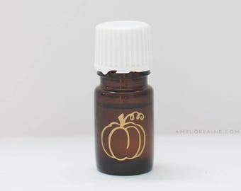 Essential Oil Bottle Gold Pumpkin Vinyl Decal