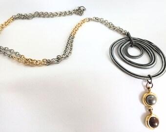 Designer Pendant Necklace, Chain Statement Necklace, Boho Necklace, Lariat Necklace, Silver Necklace, Gold Necklace, Long Necklace