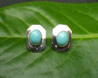 Sterling Silver Faux Turqouise Stud Earrings