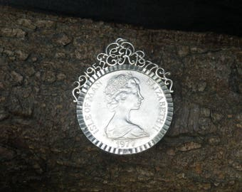 Sterling Silver Mounted Isle of Man One Crown Coin Necklace Pendant
