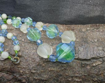 Vintage Glass Bead Blue Green and White  Necklace
