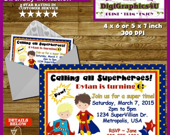 Superheroes, Super Hero Birthday Party Invitation for Boys - Personalized Printable File