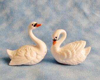 Swan Salt Pepper Shakers, Bone China Shakers, Mini Swan Shakers, Collectible Shakers