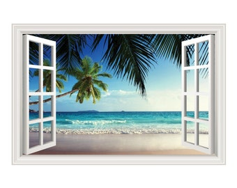Beach Ocean Waves #2 Palm Trees Wall Decal Sticker Graphic - 4 Sizes Available