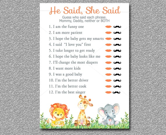Safari Baby Shower Game, He Said She Said Game Printable, Mommy Or Daddy  Game, Watercolor Jungle Baby Shower Instant Download 001 A