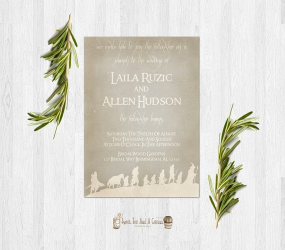 Lord Of The Rings Wedding Invitation Printable Rustic Sci-fi