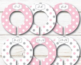 Baby Closet Dividers, Closet Organizers, Baby shower gift, Pink Grey dividers, Polka dots Dividers, Girl Clothes divider, Pink Nursery C194