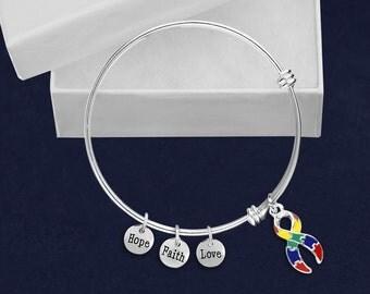 12 Large Autism Ribbon Retractable Charm Bracelets (12 Bracelets) (BR-01-2)