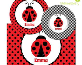 Personalized Plate for Girls - Ladybug Plate, Bowl or Placemat - Ladybug Dinnerware Girls - Custom Kids' Tableware