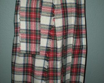 """Vintage Tartan Plaid """"Sew Easy"""" Kilt Kit Fits Waist 21 inch to 28 inch Pre Pleated, Hemmed No pattern required"""
