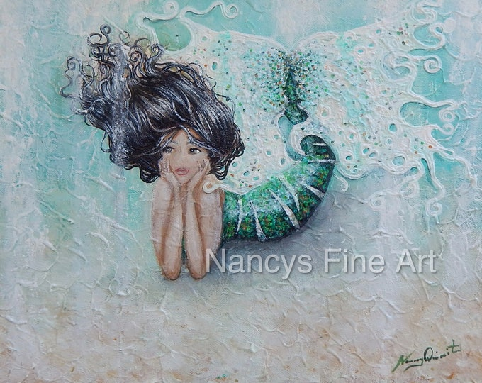 Original painting little mermaid,  green OOAK handmade mermaid artwork, under the sea mermaid wall art by Nancy Quiaoit