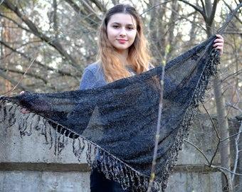 Metallic lace Shawl, Long Fringe Scarf, floral summer shawl, black Lace Shawl, Boho gothic glam, Great Gatsby Shawl, Cape Bolero Shrug