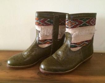 Handmade leather, vintage kilim,  booties