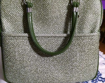 Vintage 1960's Green and White Lady Baltimore Overnight Vinyl Bag