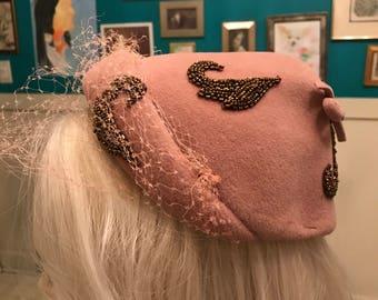 1940s Pink Felt Beaded Hat