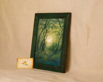 "Signed Fine Art Print ""Green Moon"", framed,  format 8,6"" x 11"""