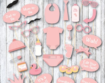 Printable Baby Shower Photo Booth Props - Girl Baby Shower Photo Props - Printable Baby Shower Games & Favors - Pink