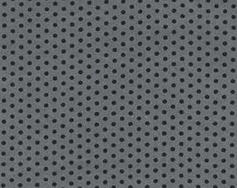 Sale Robert Kaufman, Spot On, Small Spots in Pepper, 1 Yard, Polka Dot, Gray with Black Dots