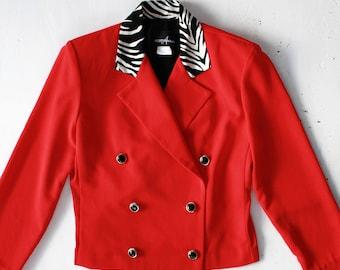 Size 8 | Red Women's Blazer Zebra pattern Collar
