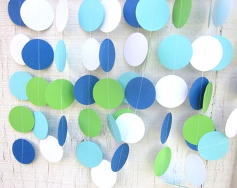 Aqua and Green Paper Circles Garland, Birthday Party, Photo Prop, Little Man, First Birthday, Backdrop, Shower, Wedding
