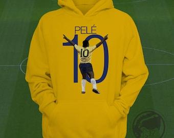 Pele 10 Brazil Hoodie - Brasil Soccer Sweatshirt Custom Apparel Football, futbol, soccer, Pele hoodie, pele sweatshirt