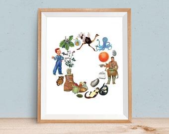 Letter O, ABC art print, Alphabet Children, Baby Printable, Digital Print, Letter Nursery Art, Monogram Art, Printable Art, Vintage Baby