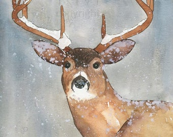 Watercolor Painting Print 'Oh Deer' -- Blue Home/office decor and wall art, Animal print of Deer in the snow