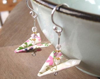 Origami Airplane Earrings, White and Pink Paper Plane Earrings, Teen Earring, Stocking Stuffer, Gift for Her, Paper Earrings, Kawaii