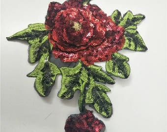 Rose sequins patch applique  embroidered fashion patch applique T-shirt or Coat sew on patch