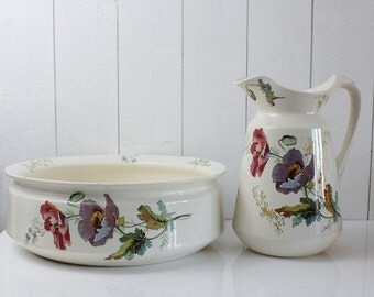 Antique Wash Basin and Pitcher, Villeroy and Boch, Pitcher and Basin Set, Ceramic Pitcher and Wash Basin, Shabby Chic Bathroom Decor D630