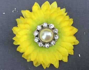 Yellow Pearl Flower, Hair Accessory, Hair Flower Clip, Yellow Hair Clip, FREE SHIPPING, Flower Clip, Wedding Hair Flower, Bridesmaid Gift