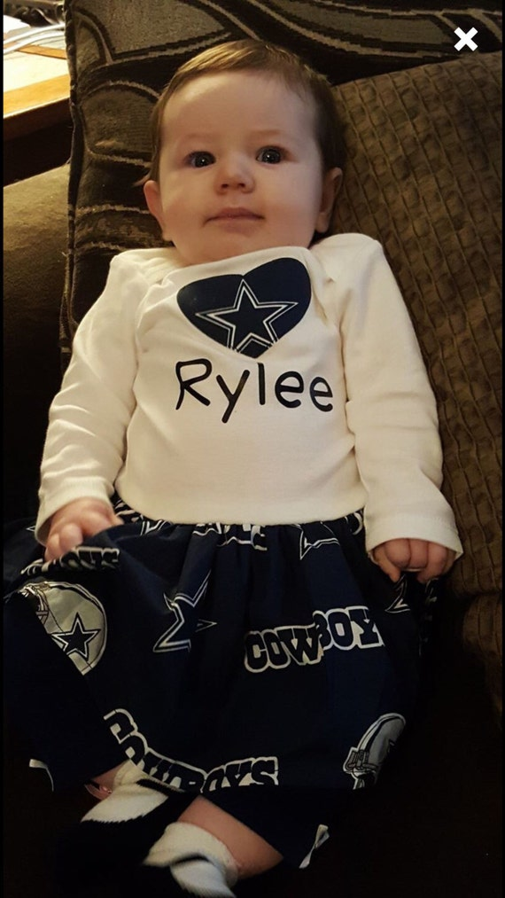 Custom Dallas Cowboys Bodysuit Dress with heart applique and name(black)