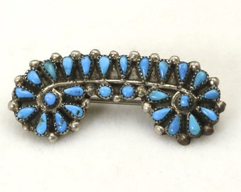 Vintage Zuni Silver & Turquoise Petit Point Pin Brooch Southwestern Unique