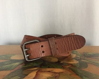 Brown Leather Belt Vintage Distressed Double Notch Buckle