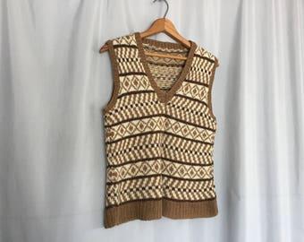 Brown Sweater Vest Cream Striped Vintage