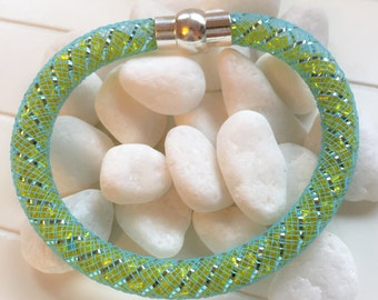 Blue and green stardust bracelet-blue stardust bracelet-green stardust bracelet-gift for her-green and blue stardust bracelet-gift for you