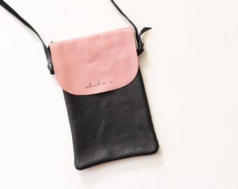 Genuine Leather Traveler's Blush Pink + Black Crossbody Handbag/Purse