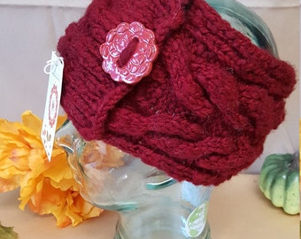Red headband/ knitting\ wool yarn