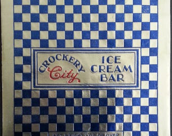 3 - 1950's Crockery City Foil Ice Cream Bar Wrappers East Liverpool, Ohio