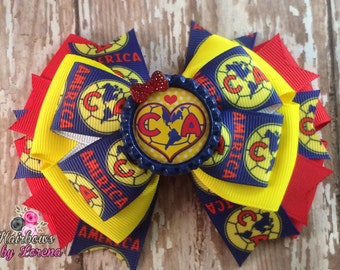 Club America Soccer Bow, Layered Hairbow