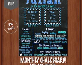 Monthly Milestone Chalkboard Sign - Digital - Half Birthday Chalkboard - 6 Month Chalkboard - Any Colors - Boys - Girls - Blue - Pink