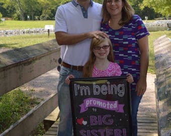 I'm Being Promoted to Big Sister Sign - Big Sister Pregnancy Announcement - Pregnancy Announcement - Big Sister - Pink - Digital File