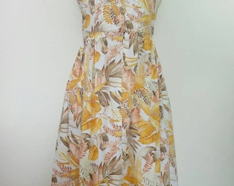 Vintage cotton sun dress summer tropical leaf sleeveless dress floral square neck picnic dress