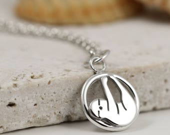 Sloth Necklace - Sterling Silver Sloth Jewellery - Sloth Gift