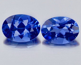 1.02 cts Pair TANZANITE Violet Blue Oval Faceted Clean Natural Gemstones Tanzania