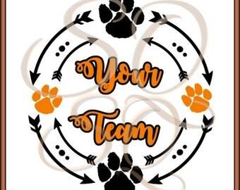 Arrow Monogram Circle SVG Letter Paw Print 2017 Dot Hair Bow Team Mom Cheer Football Orange Blue Sign Truck Country Boot Cricut Life Decal.