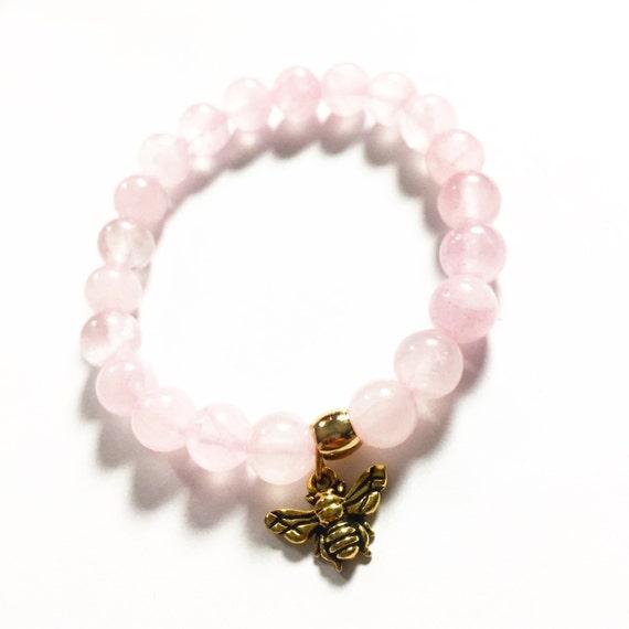 Rose Quartz Beaded Charm Bracelet 8mm, Choose Your Charm, Custom, Meditation, Yoga, Mala, Gold Plated