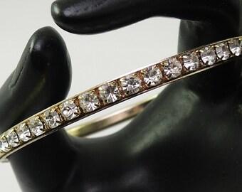 Gold Tone Rhinestone Bangle Bracelet 1970-80s